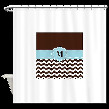 Brown Blue Chevron Monogram Shower Curtain By Cupcakesandsprinklesbirthdaytees