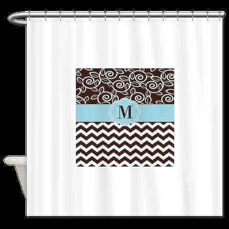 Brown Blue Chevron Damask Monogram Shower Curtain By Cupcakesandsprinklesbirthdaytees