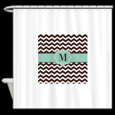 Brown Green Chevron Monogram Shower Curtain By Cupcakesandsprinklesbirthdaytees