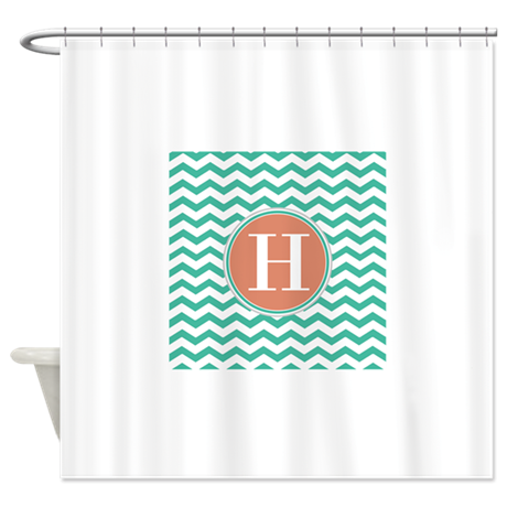 any letter coral teal chevron mono shower curtain by