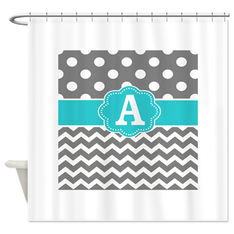 Gray Teal Chevron Dots Monogram Shower Curtain By CupcakesandSprinklesBirthda