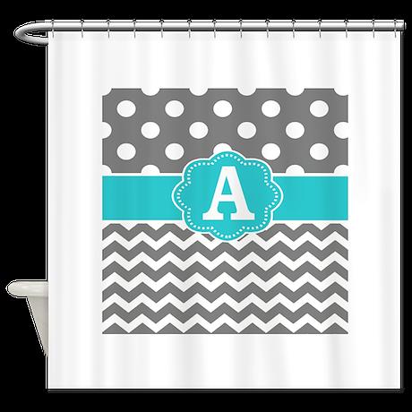 Gray Teal Chevron Dots Monogram Shower Curtain By Cupcakesandsprinklesbirthdaytees
