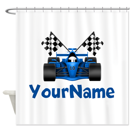 Race car personalized shower curtain by for Race car shower curtain