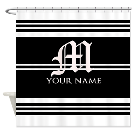 Black And White Stripe Monogram Shower Curtain By Nesthy