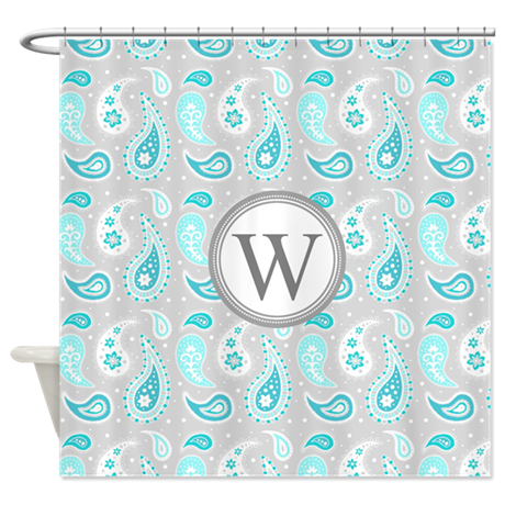 Aqua Gray Paisley Monogram Shower Curtain By DreamingMindCards