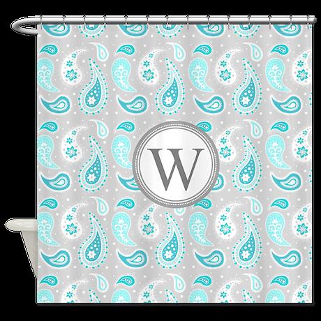 Aqua Gray Paisley Monogram Shower Curtain By DreamingMindCards