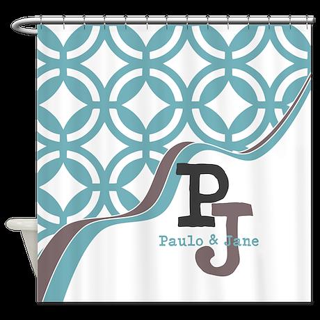 Gray Mint Quatrefoil Monogram Shower Curtain By