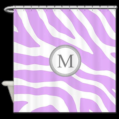 Purple Grey Zebra Monogram Shower Curtain By Dreamingmindcards
