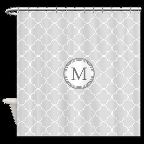 Light Grey Quatrefoil Monogram Shower Curtain By Dreamingmindcards