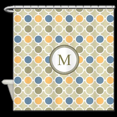 Orange Beige Blue Circles Monogram Shower Curtain By DreamingMindCards