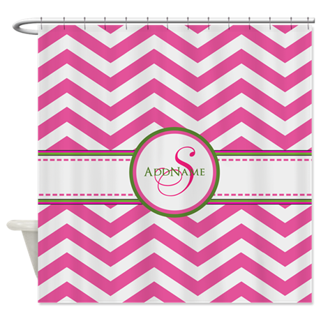 Pink Monogram Chevron Stripe Shower Curtain By CustomGifts123
