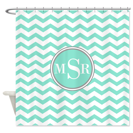 Mint Blue Green Gray Monogram Shower Curtain By Cutetshirtsgift