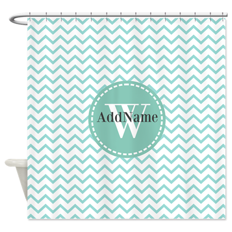 Modern Light Aqua Chevron Monoram Shower Curtain By CustomGifts123