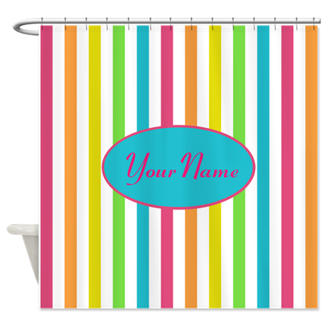 Colorful Multi Stripes Personalized Shower Curtain By Bimbyspersonalizedgifts