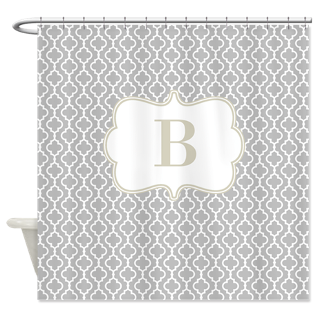 Gray Beige Quatrefoil Monogram Shower Curtain By CupcakesandSprinklesBirthday