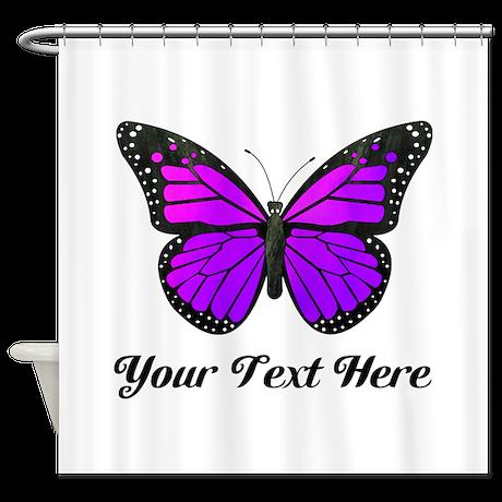 Purple Butterfly Custom Text Shower Curtain By Cutetoboottoo