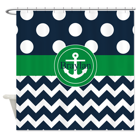 Navy Green Anchor Personalized Shower Curtain By CupcakesandSprinklesBirthday