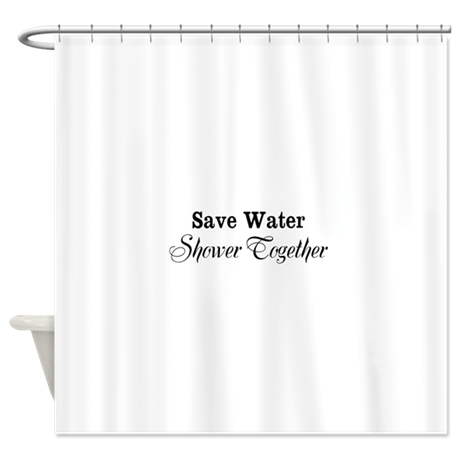 Funny save water shower together shower curtain by for Shower curtain savers