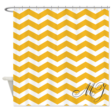monogrammed yellow chevron shower curtain by inspirationzstore