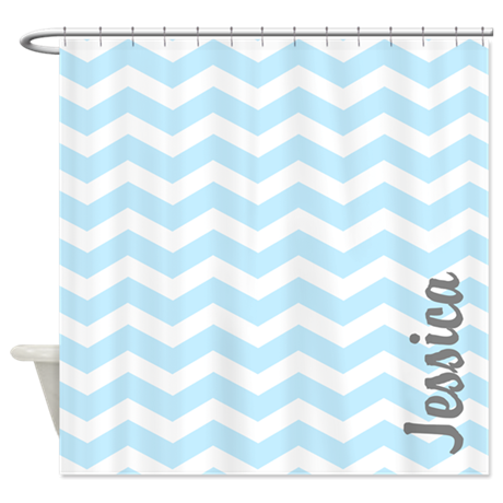 Custom Name Blue Chevron Shower Curtain By Inspirationzstore
