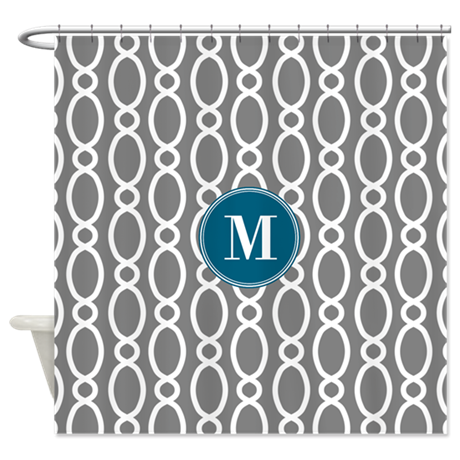 Vine pattern monogram gray teal shower curtain by for Gray curtains png