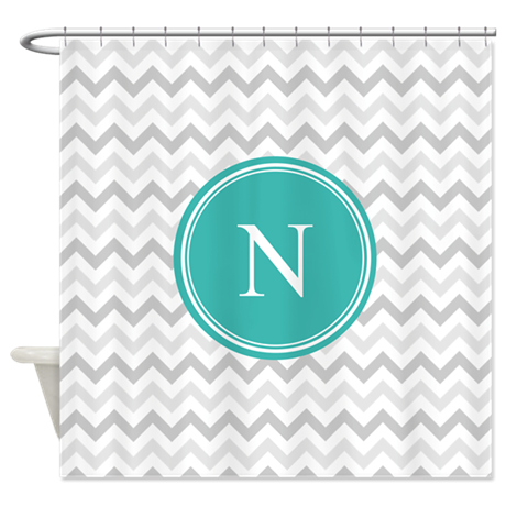 Custom Turquoise Grey Chevron Shower Curtain By InspirationzStore