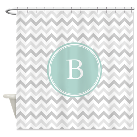 Mint Grey Chevron Shower Curtain By Admin CP49789583
