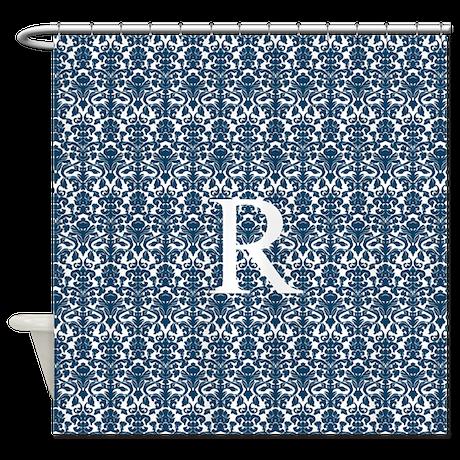 Blue White Damask Monogram Shower Curtain by DreamingMindCards