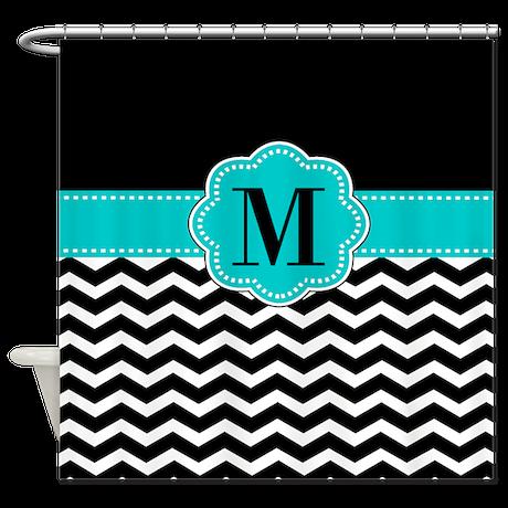 black chevron monogram shower curtain by