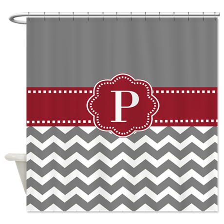Gray Red Chevron Monogram Shower Curtain By CupcakesandSprinklesBirthdayTees