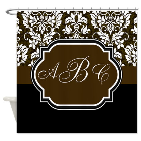 Brown And Black Damask Shower Curtain By LastingMemories1
