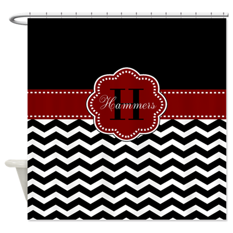 red black chevron personalized shower curtain by