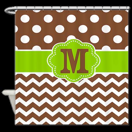 Brown Green Chevron Dots Monogram Shower Curtain By Cupcakesandsprinklesbirthdaytees