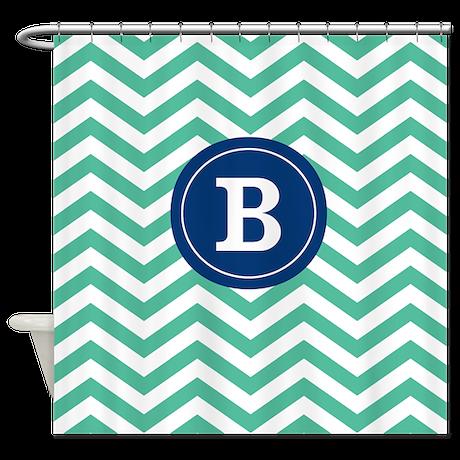 Green Navy Chevron Monogram Shower Curtain By CupcakesandSprinklesBirthdayTees