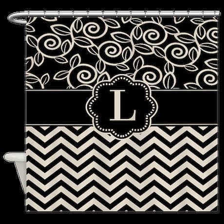 Black Tan Chevron Scroll Monogram Shower Curtain by ...