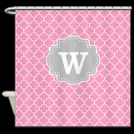 Pink Gray Quatrefoil Monogram Shower Curtain By Cupcakesandsprinklesbirthdaytees