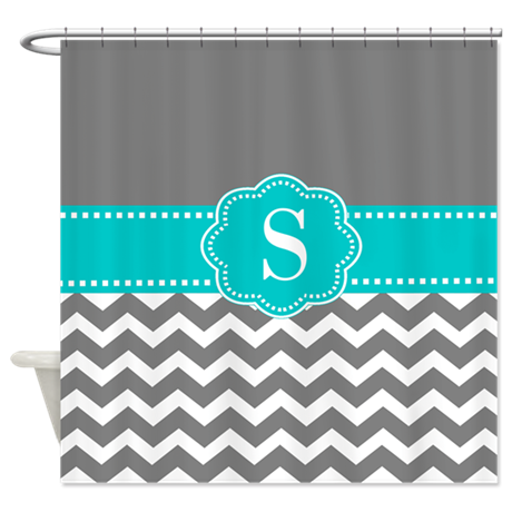Gray Blue Chevron Monogram Shower Curtain By Cupcakesandsprinklesbirthdaytees