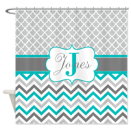 Gray teal quatrefoil chevron personalized shower c by for Gray curtains png