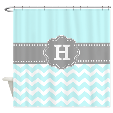Aqua Gray Chevron Monogram Shower Curtain By CupcakesandSprinklesBirthdayTees
