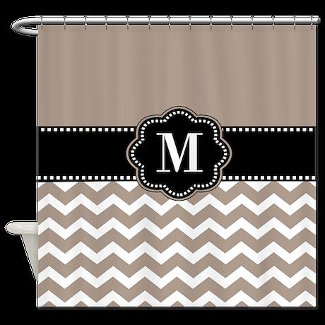 Tan Black Chevron Monogram Shower Curtain By Cupcakesandsprinklesbirthdaytees