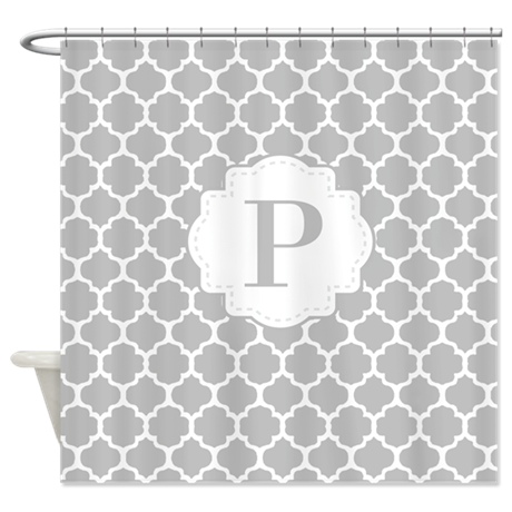 Gray white quatrefoil monogram shower curtain by for Gray curtains png