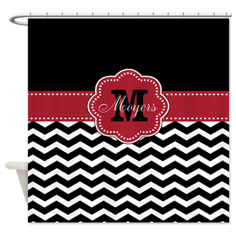 black red chevron personalized shower curtain by