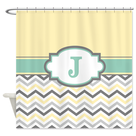 Yellow Gray Mint Chevron Monogram Shower Curtain By