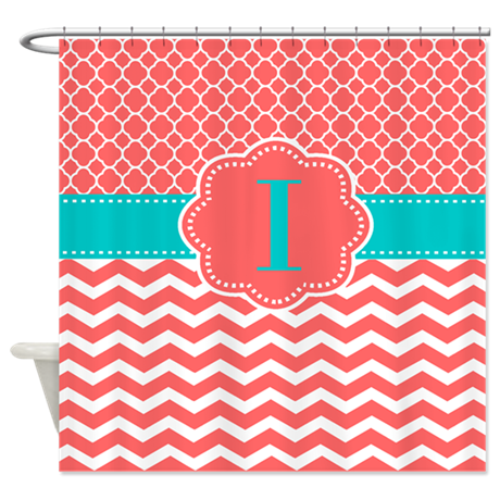 coral teal chevron monogram shower curtain by