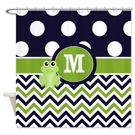 Navy Green Frog Monogram Shower Curtain By CupcakesandSprinklesBirthdayTees