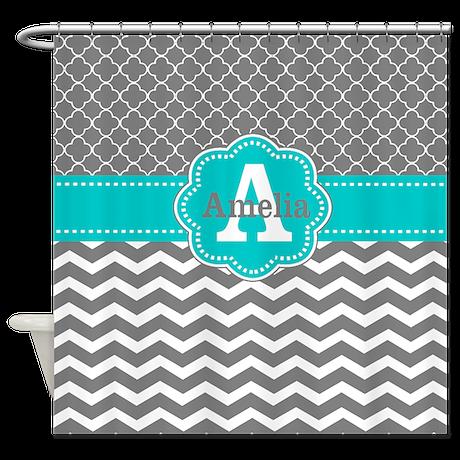Gray Teal Chevron Personalized Shower Curtain By Cupcakesandsprinklesbirthdaytees