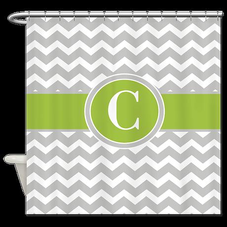 Gray Green Chevron Monogram Shower Curtain By Cupcakesandsprinklesbirthdaytees