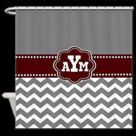 Gray Burgundy Chevron Monogram Shower Curtain by