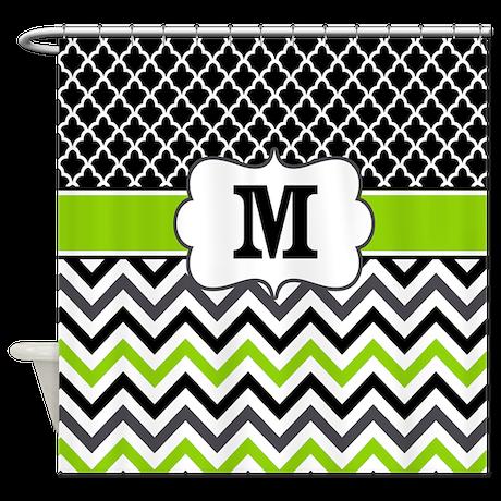 black lime green chevron monogram shower curtain by