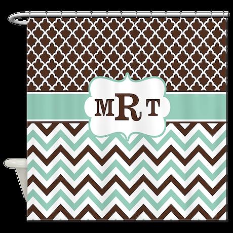 Brown Mint Green Chevron Monogram Shower Curtain By Cupcakesandsprinklesbirthdaytees
